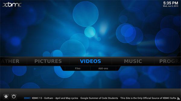 Kodi video menu